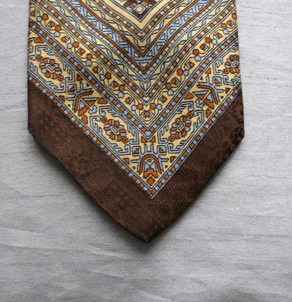 Vintage Tie Silk 1970s Pierre Cardin silk Geometric Aztec wide designer GIFTS under 25 GIFTS for him