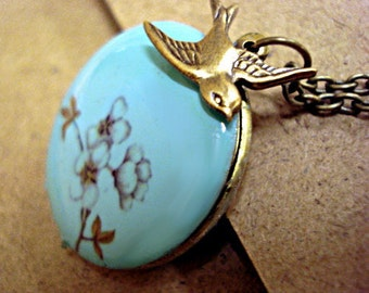 SALE 40% OFF: Turquoise enameled locket necklace with cherry blossom branch, long necklace and ...