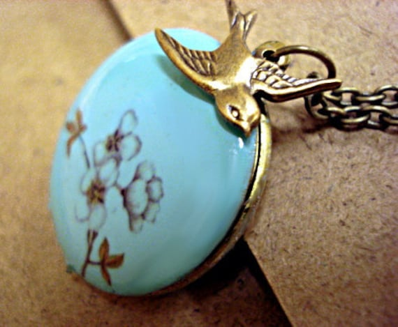 SALE 40% OFF: Turquoise enameled locket necklace with cherry blossom branch, long necklace and bronze swallow