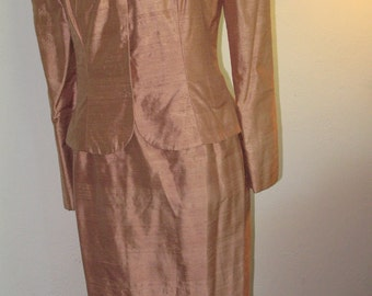 Formal Event,Cocktail Party, Bronze Colored, Elegant Silk Suit