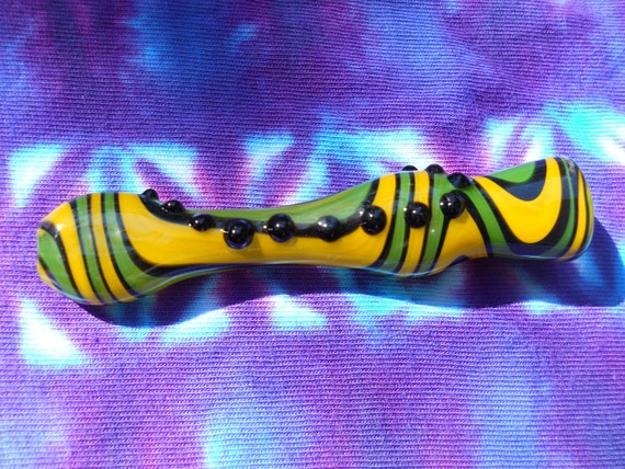 Glass Pipe / Chillum / Bat / One Hitter  - Inside Out - Lemon Lime - FREE SHIPPING