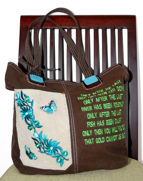 Brown Leather Canvas Tote Bag Front Pocket Environment Woodland Beige Leather Handbag Green Embroidery Gift Idea Ecology Women ONE OF A KIND