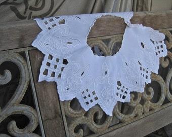 SALE Embroidered Collar Runway Trend Huge Vintage 80s NOS Pristine White Cutwork Cotton Blend Statement Neckpiece Bib New Old Stock