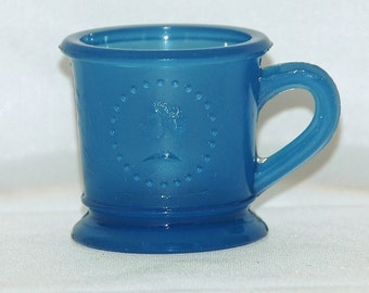 Antique Rare Blue CERES 'GODDESS of LIBERTY' Child's Mug Ca 1870 Early American Pattern Glass Exc Vintage Condition
