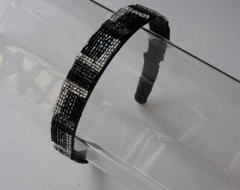 Black and Ivory Beaded Headband, for weddings, parties, evening, night out, holiday, festive, special occasions