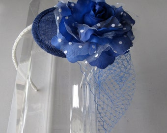 Royal Blue Polka Dot Flower Sinamay Fascinator Hat with Veil and Pearl Beaded Headband, for weddings, bridesmaid, parties, special occasions