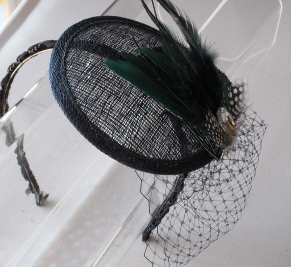 Green Feather Crystal Beaded Navy Blue Sinamay Fascinator Hat with Veil and Beaded Headband, for weddings, parties, cocktail, evening