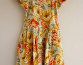 70s Dress - 'Tea and Roses', summer, daytime, party, xs, small