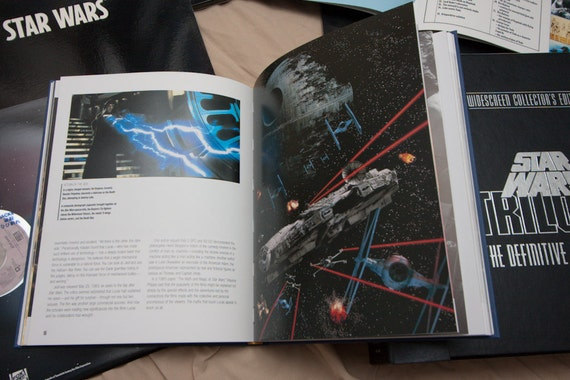 """Science Fiction Film: """"Definitive Star Wars Trilogy"""" Box Set w- hardcover Sci Fi Movie Gifts for Geek Gifts for Him Anniversary"""