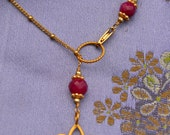 Gold Vermeil Lotus Yoga Necklace with Gemstone Accents