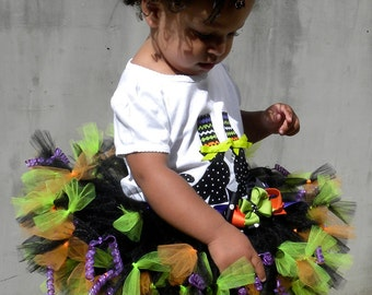 COMPLETE COSTUME:  Petti Tutu Skirt - Witch Halloween Costume - Hocus Pocus - 12 Month to 2 Toddler Girl - Cutie Patootie Designz
