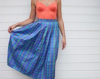 Vintage Blue Plaid Full High Waist Silk Skirt