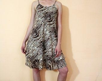 Vintage 90s Animal Print Sleeveless Layered Dress