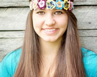 Olivia- Fabric Flowers Headband