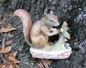 Vintage Lefton Red Squirrel and Acorn Bisque  Figurine Fall Fun