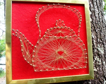 Vintage Teapot on Red and Gold 1960's String Art Visual Dimensional