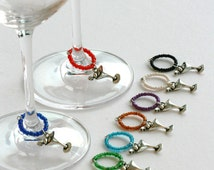 10x Wine glass charms - Gift set, table decor, cocktail marker, drink tag, stocking filler, wedding favour, housewarming gift, secret santa
