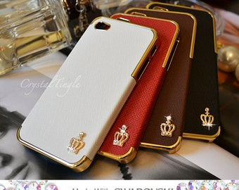 Classic Sparkle Gold Crown Design Luxury Designer Inspired Synthetic Leather Hard Case Made w/ Swarovski Elements Crystal iPhone 6s Plus