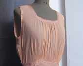GABRIELLE-1940s vintage italian silk robe. Sheer peach silk nightgown. Honeymoon gown.