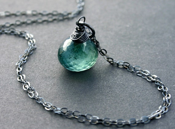 Moss Aquamarine Necklace with Oxidized Sterling Silver AAA Genuine Gemstone