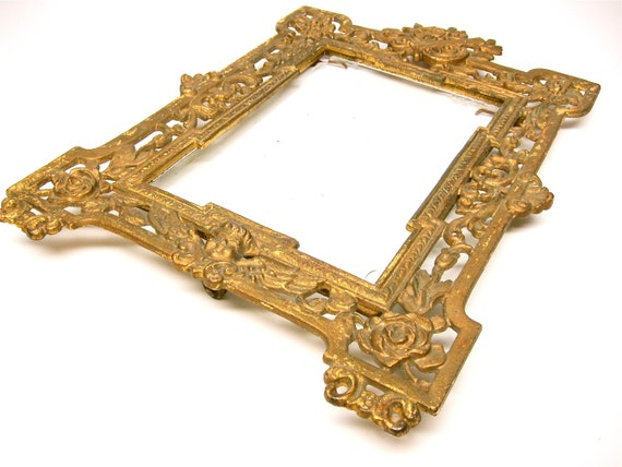 Antique Frame Victorian Gold Picture Frame Roses Cherub