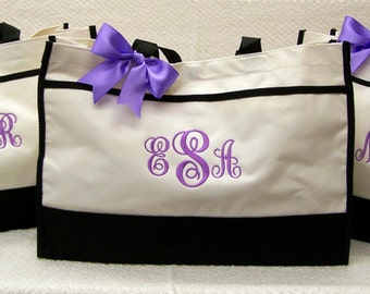 Set of 9 Personalized Tote Bags Bridesmaids