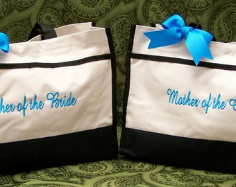 Set of 2 Personalized Mother of Bride and Groom Wedding Tote Bags