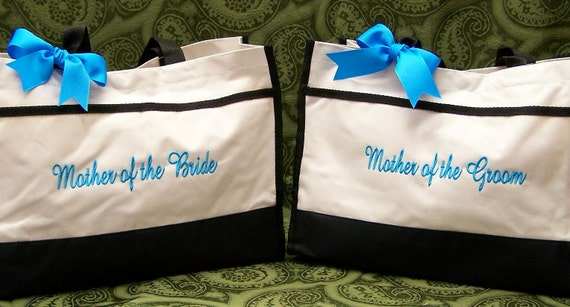 Personalized Mother of Bride Groom Wedding Tote Bags