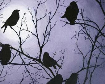 "Original oil painting ""Murder in the Moonlight"". 8x10 Le prints.home decor earthspalette"