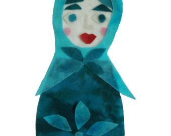 Batik Collage Babushka Doll Custom Art Personalized with Name