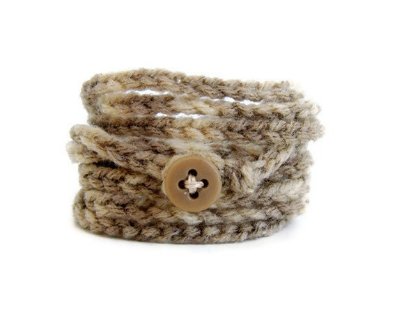 Wrap bracelet - Warm Vanilla Sugar crochet wrap bracelet - Fun and funky stylish fashion jewelry, comfy and soft chunky yarn in shades brown