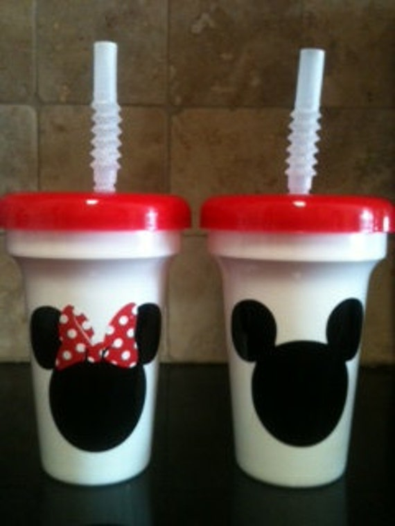 10  Minnie or Mickey Mouse party favor cups with red lid and clear straw