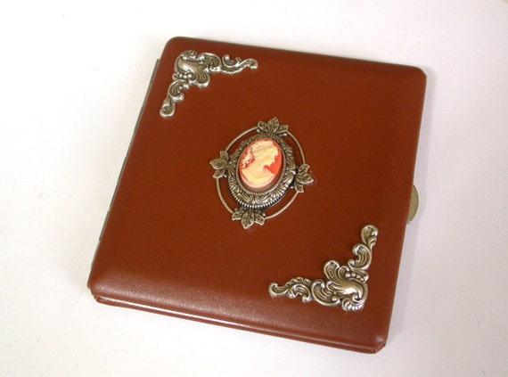Light Cinnamon  Cigarette Case - Victorian Leatherette Case - Smoking Accessories