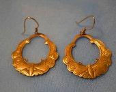 Clearance SALE Brass Vintage Butterfly Earrings 1980's Art Nouveau Hoop dangle scalloped pierced women birthday Summer Fall mariposa for her
