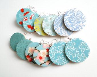 Turquoise dangle Earrings, Blue Earrings, Aqua Earrings, Japanese Chiyogami Washi Yuzen, MADE TO ORDER, gift under 20