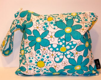 Wet Bag or Eco-Bag with Snap Handle - Waterproof - Daisies and Dots - Turquoise Blue