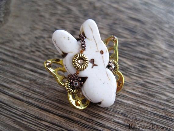 Steampunk Pirate Ivory & Gold Bunnyfly Brooch (b007)
