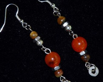 EARRINGS  SILVER Stainless STEEL Orange Brown Chic Nice Feminine  Dare to Wear