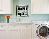 """Laundry Room Vinyl Wall Decal - Wash Dry Fold Repeat - Wall Art Quote Sign - Vinyl Wall Sticker Lettering - 11"""""""