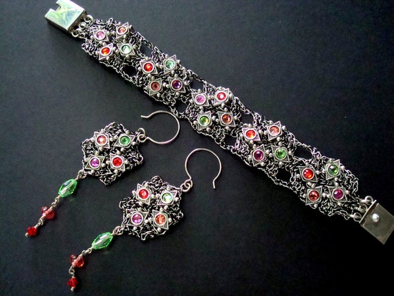 "RESERVED FOR JUDY  Crocheted Wire Bracelet and Earring Set  -   "" Carnivale  """