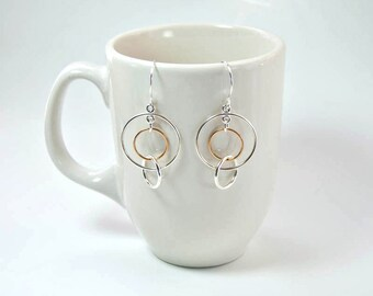 Two Tone Circle Earrings.  Silver and Gold