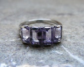 15% Off Sale.S58 Made to Order...New Sterling Silver Multistone Ring Mounting With 4 Emerald Cut Natural Amethyst Gemstones