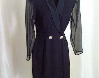 Vintage 80s dress black size 6 sheer cocktail evening party long sleeve dress
