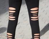 Black Long Torn Leggings. Cut leggings. Funky Leggings. Black Tights. Punk Pants