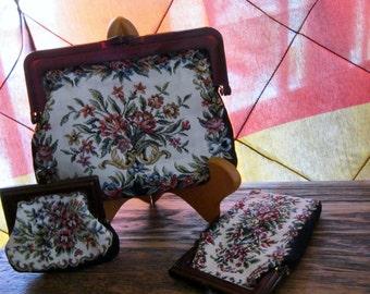 Vintage Tapestry Purse 3 piece Set Interpur Brand Made in Hong Kong Floral Design Handbag Coin Purse Glasses Phone Case