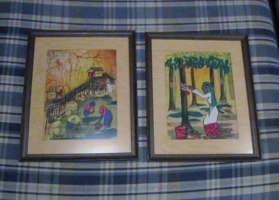Vintage Art  Batik Paintings 1950 Original Signed Art