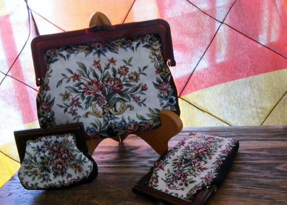 Vintage Tapestry Purse 3 piece Set Interpur Brand Made in Hong Kong Floral Design Handbag Coin Purse Glasses Phone Case