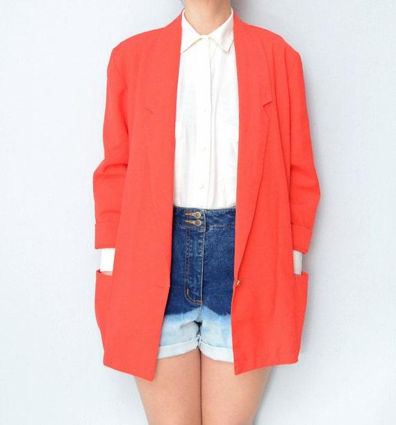 Vintage Tomato Red linen 90s women Blazer / spring / jacket / outerwear / throw on