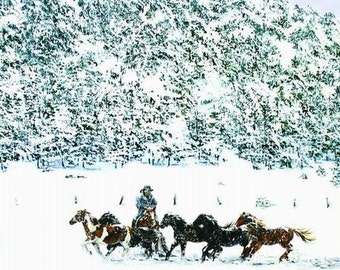Wild ponies, Cowboy on horse, Winter landscapes, Country wall decor