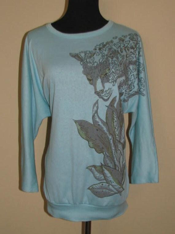 Purrrffect 80's Cheetah LEOPARD Shirt // Karen Blake Top Size L XL Sea Foam Green Gold Metallic 3/4 Sleeves Batwing